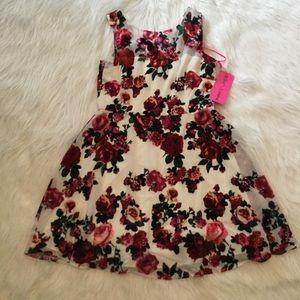 Betsey Johnson Sz 14 Dress Ivory Velvet Burnout